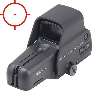 Eotech 556.A65/1 holographic weapons sight takes up little rail space and is cantilevered to fit over the D ring on AR15 style rifles.